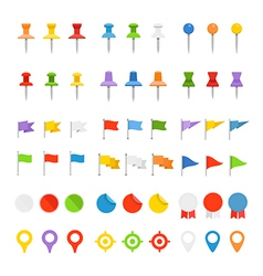 Navigation pins flags and insignias collection vector