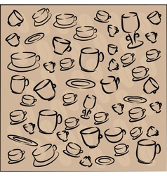 Cup and saucer with coffee beans vector