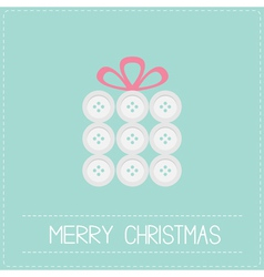Gift box made from white buttons christmas vector