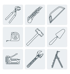 Grey outline house remodel tools icons vector