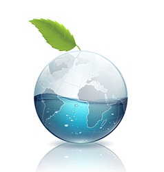 Earth with green leaf and water vector