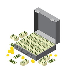 Suitcase of money wads of dollars and coins in vector