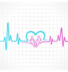 Heartbeat make family and heart symbol vector