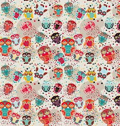 Seamless pattern with colorful owls on cream vector