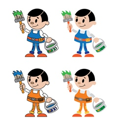 Figures of house painter vector