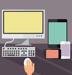 Desktop computer smartphones and a tablet vector