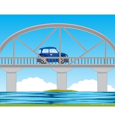 Bridge through river vector