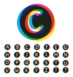 Trendy colorful alphabet set vector