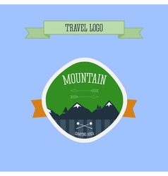 Mountain camping logo label and badge travel vector