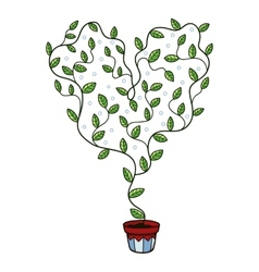 Heart with leaves growing in a pot vector