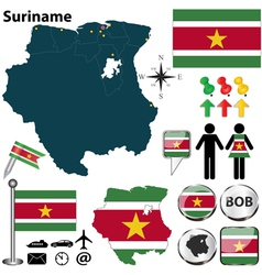 Suriname map vector