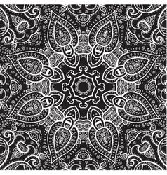 Lace background white on black mandala vector