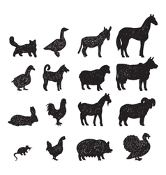 Farm animals black silhouettes vector