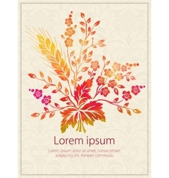 Invitation card with watercolor flower vector
