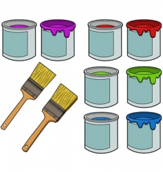 Paint brushes and cans vector