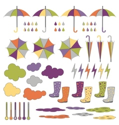 Rubber boots umbrellas rain set vector