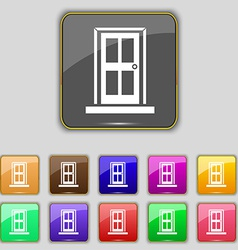 Door icon sign set with eleven colored buttons for vector