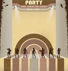 Retro party flyer vector