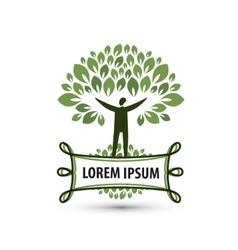 Natural product nature and man logo icon emblem vector