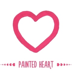 Painted hand drawn outlined heart vector