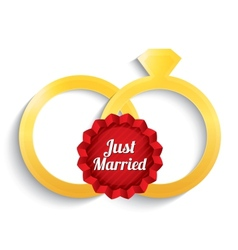 Wedding gold rings just married label vector