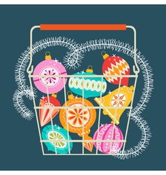 Christmas shopping basket vector