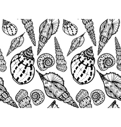 Doodle textured shells seamless pattern vector