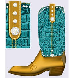 Cowboy bootluxury shoe with diamonds for design vector