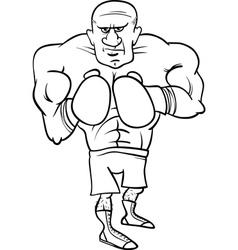 Boxer sportsman cartoon coloring page vector