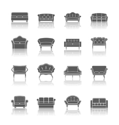 Sofa icon black vector