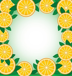 Orange with green leaves background frame vector