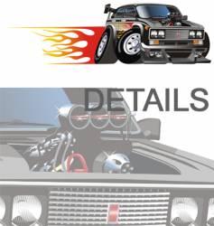 Cartoon hotrod car vector