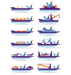 Different cargo ships icons set vector