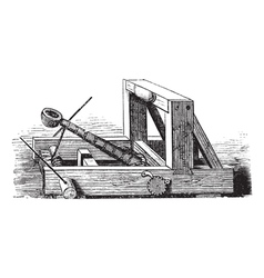 Catapult vintage engraving vector