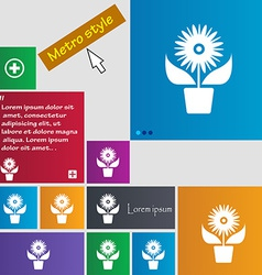 Flowers in pot icon sign metro style buttons vector