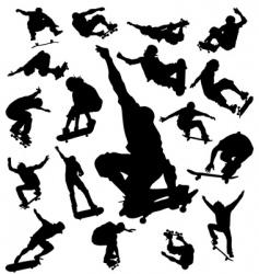 Skateboarder silhouettes vector