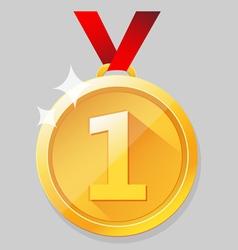 Shining gold medal vector