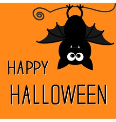 Cute bat happy halloween card vector