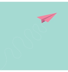 Pink origami paper plane curly dash line track sky vector