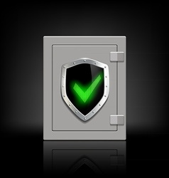 Metal safe with a shield which depicts a tick vector