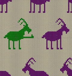 Knitted seamless pattern with goat vector