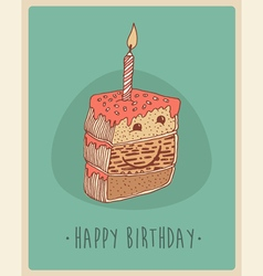 Piece of cake happy birthday sweet cupcakes vector