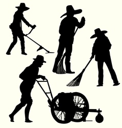 Silhouette of people gardening vector