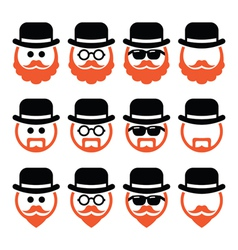 Man in hat with ginger beard and glasses icons set vector