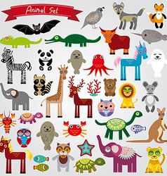 Set of funny cartoon animals character on a white vector