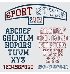 Grunge serif font in the retro style of sport vector