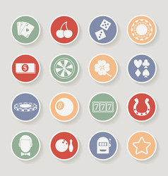 Casino round icons set vector