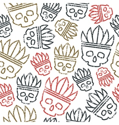Seamless pattern skull in headdress redskin vector