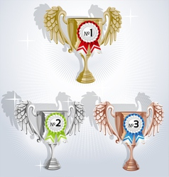 Award goblets gold silver and bronze with rosettes vector