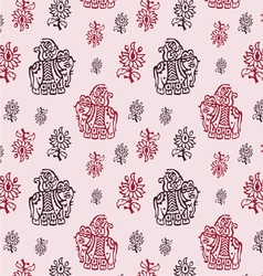 Indian elephant seamless background vector